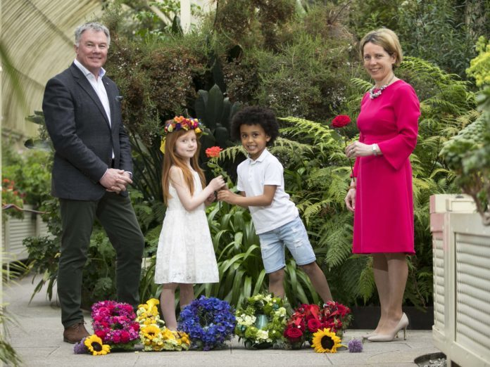 An upside down garden, the challenges of urban living, skin cancer awareness, gender inequality, sustainable fishing and biodiversity are among the issues which will be brought to life in some of the stunning show gardens at Bord Bia's Bloom which returns to the Phoenix Park Dublin from 31st May to 4th June 2018. The five day event which showcases the best of Ireland's horticulture and food industry will feature 20 spectacular show gardens and endless garden and floral features. Bloom offers a great out for all the family featuring arts, crafts, music, food and drink as well as talks, debates, workshops and live cookery demonstrations with some of Ireland's best loved chefs. Pictured at the Botanic Gardens Glasnevin, for the launch of Bord Bia's Bloom were: Gary Graham, Bord Bia's Bloom Show Manager, Tara McCarthy, CEO Bord Bia and children Skye Toal aged 5 from Finglas with Mateus Carvalho aged 6 from Athlone. Picture Chris Bellew / Fennell Photography 2018